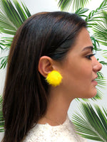 Mink Puff Ball Earring (yellow)