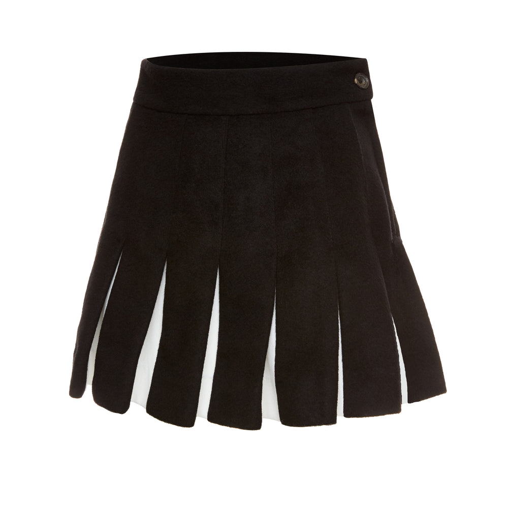 Wool Felt Pleated Skirt (Black)