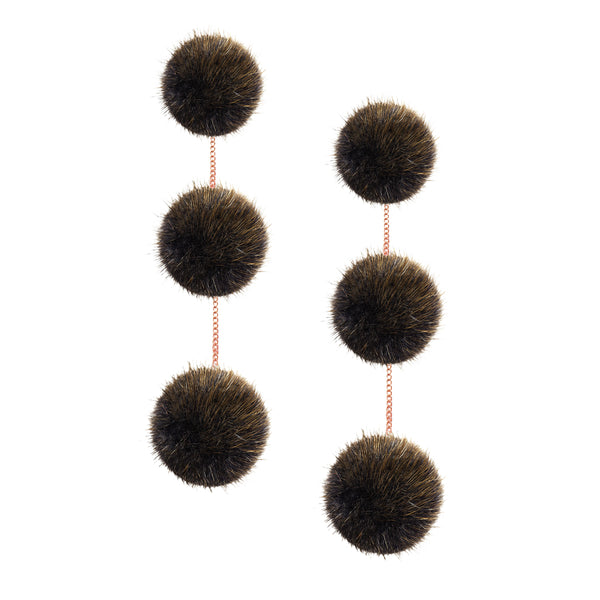 Mink 3 drop earring (24K Gold)