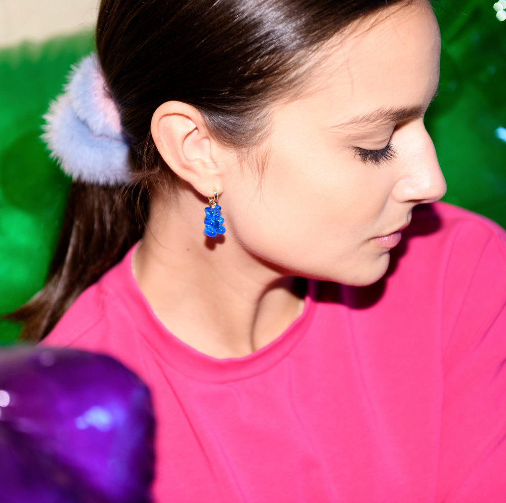 Mink Scrunchie - Blue and Pink