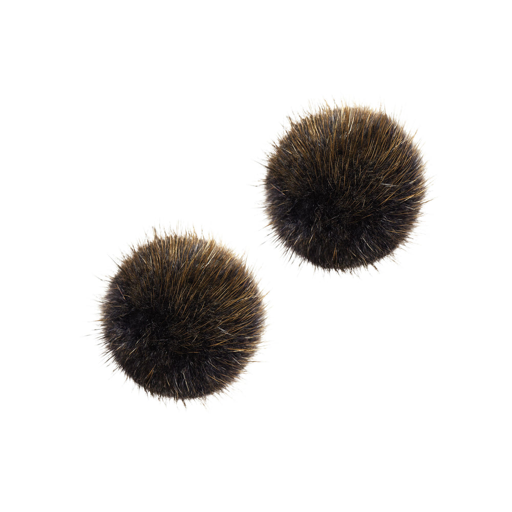 24K Gold Mink Puff Ball Earring