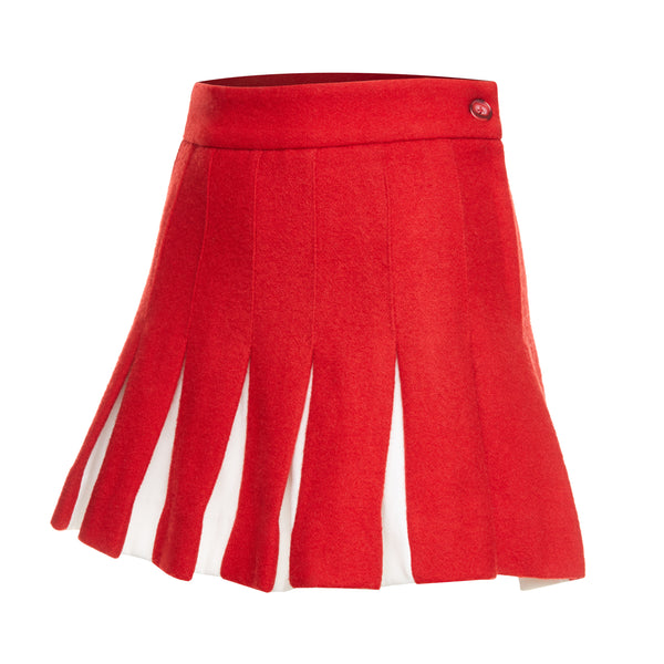 Wool Felt Pleated Skirt (Red)
