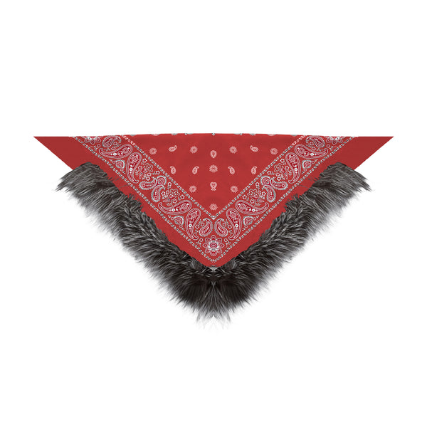 Silver Fox Trimmed Bandana (red)