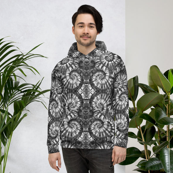 Autumn Spiral B/W All Over Print Hoodie