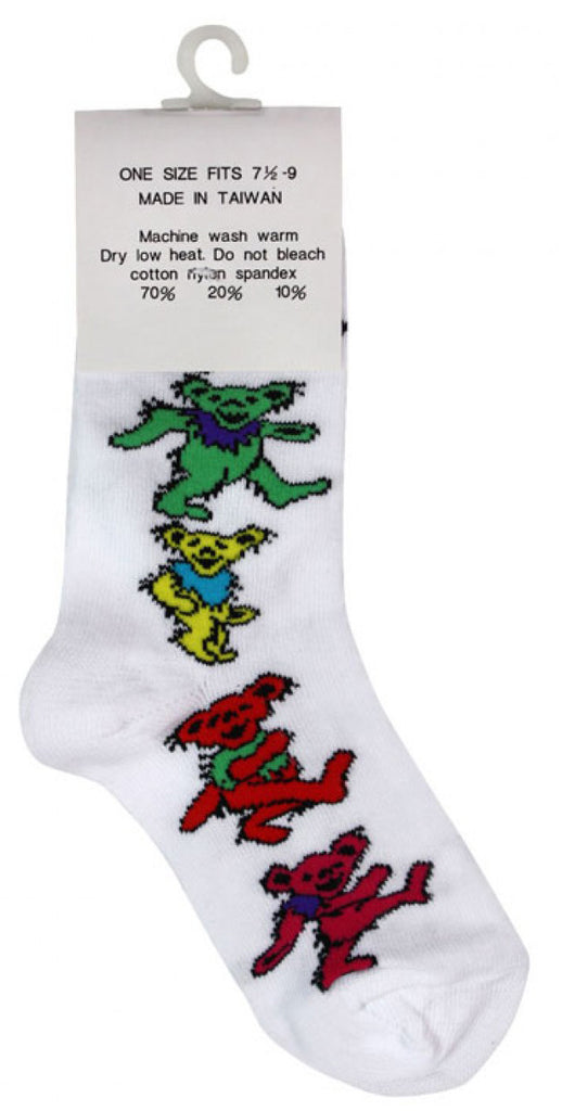 Grateful Dead Dancing Bears Socks - White