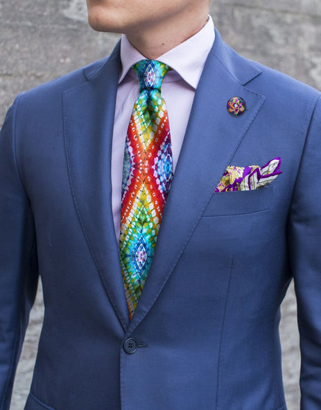 Kye's Dyes Necktie - Rainbow Diamonds