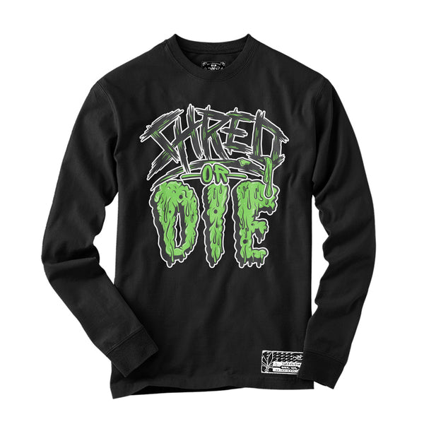 Long Sleeve - Shred or Die - Black / Slime