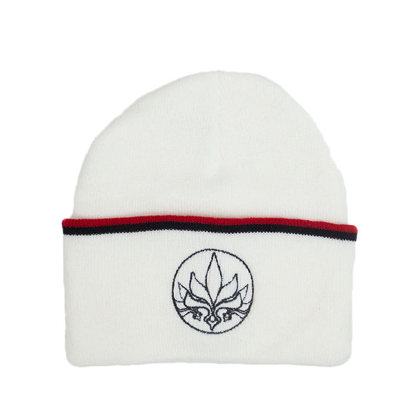 Stamp Stripe Beanie - White / Red / Black