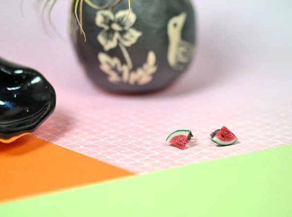 Polymer Clay Watermelon Studs