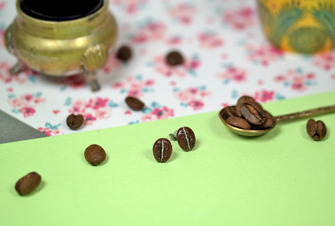 Polymer Clay Coffee Bean Studs