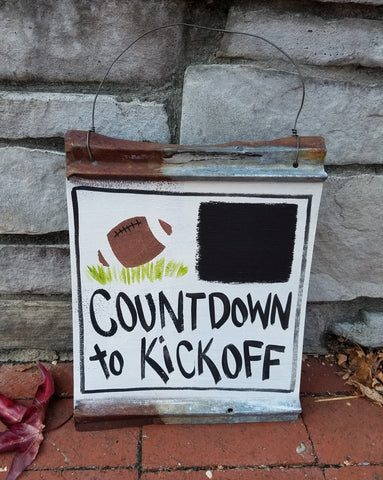 Countdown to Kickoff Reclaimed Metal Sign