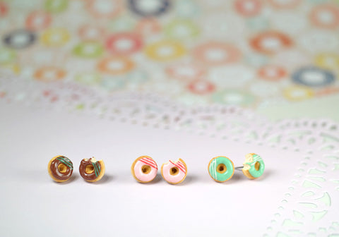 Strawberry Donut Studs