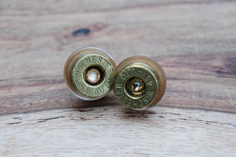 Cubic Zirconia Shotgun Shell Button Stud Earrings