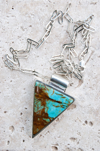Kingman Turquoise Necklace in Sterling Silver