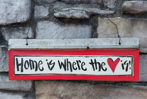 Home is Where the Heart Is Reclaimed Metal Sign