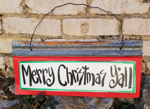 Merry Christmas Y'all Reclaimed Metal Sign