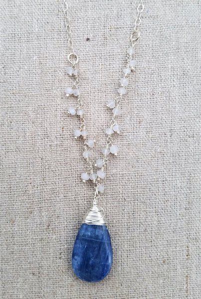 Moonstone Teardrop with Kyanite Clusters