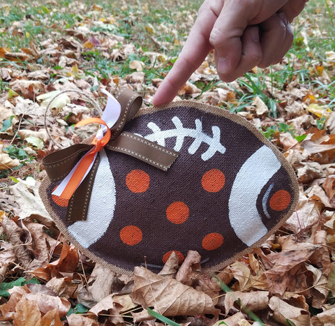 Brown and White Polka Dot Football Door Hanger