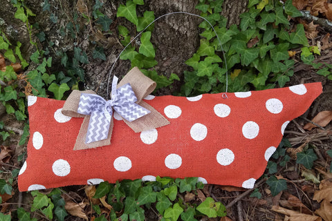 Orange and White Polka Dot Tennessee Door Hanger made from Burlap