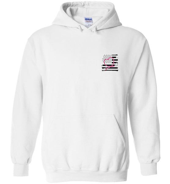 Nurse Flag with Heart Stethoscope Pullover Hoodie
