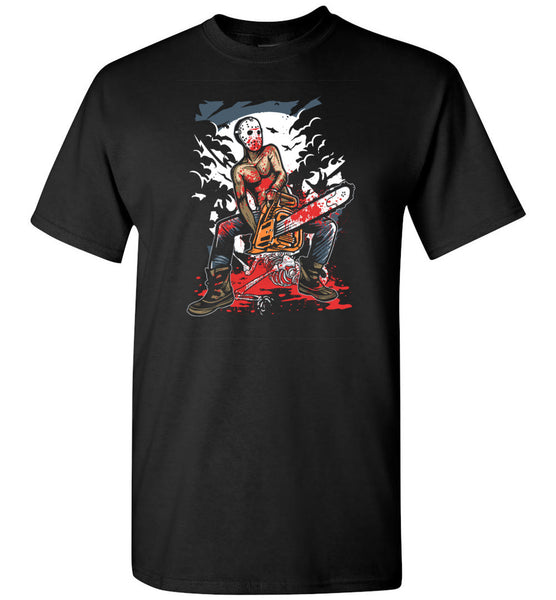 Chainsaw Killer Shirt - Serial Killer At Gruesome, Bloody Crime Scene With Chain Saw Tshirt