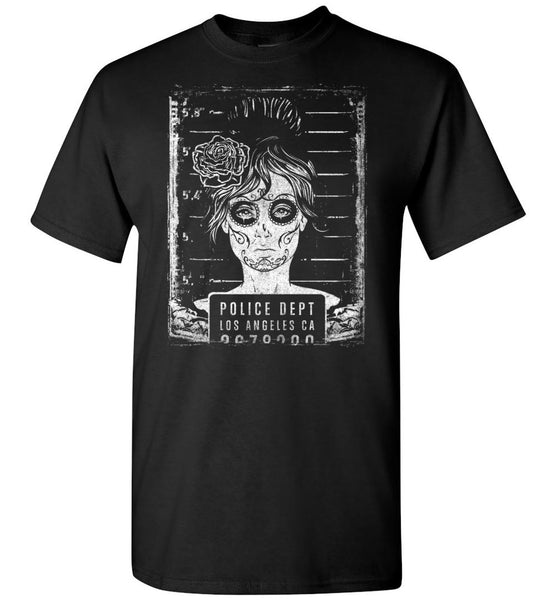 Busted T Shirt - Prison Mug Shot Goth Girl Pop Culture Tee