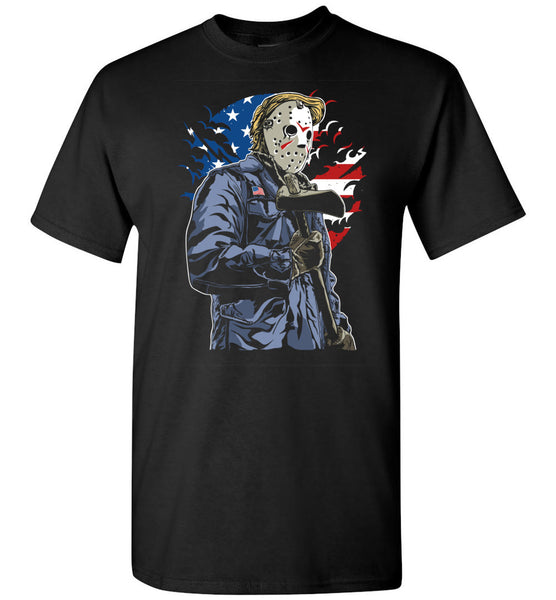 American Killer in Scary Hockey Mask Wearing Gloves And Mask With American Flag On Jacket And In Background Tshirt