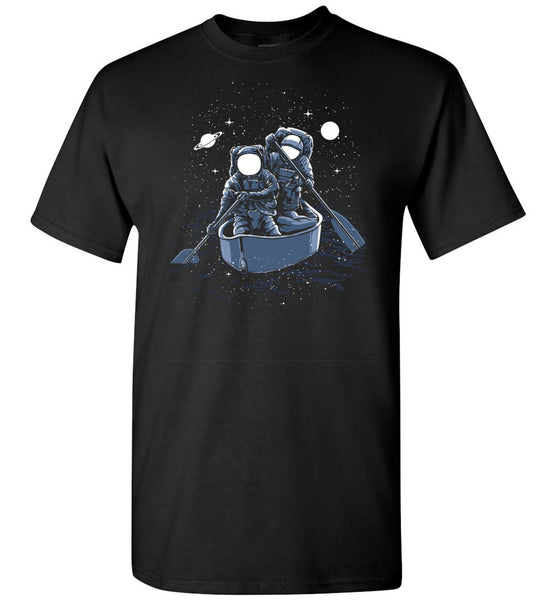 Across The Galaxy Shirt - Astronaut Explorers In Paddle Boat - Moon Stars Saturn In The Sky Tshirt