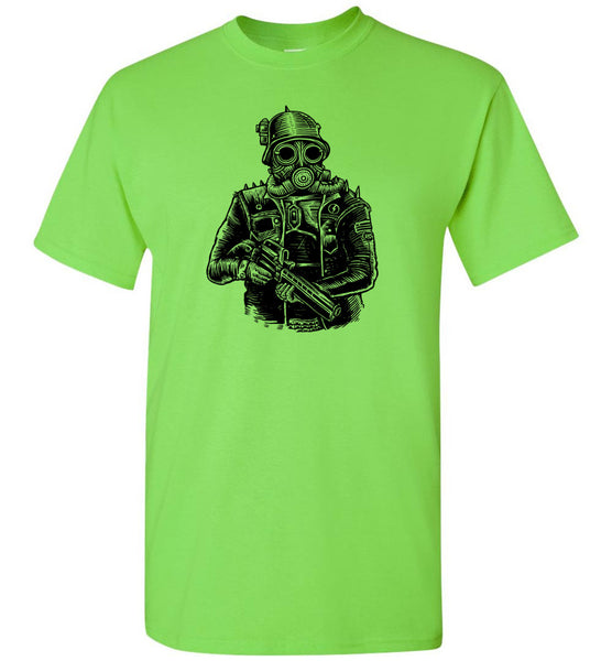Steampunk Soldier With Mask And Weapon T-Shirt - Pop Culture T Shirt