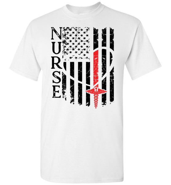 Nurse Flag for Nurse Red Unisex Tee (Front Print Flag W/Nurse Red)