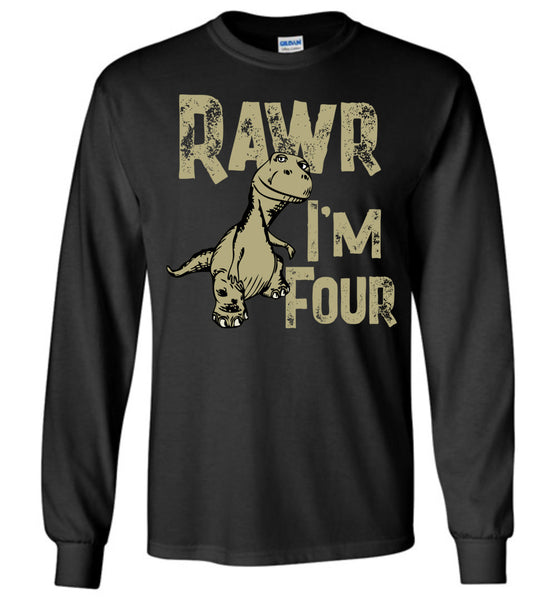 Rawr I'm Four - Kid's Dinosaur Long Sleeve T-Shirt