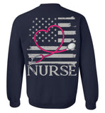 Nurse Flag with Stethoscope Unisex Crewneck Sweatshirt