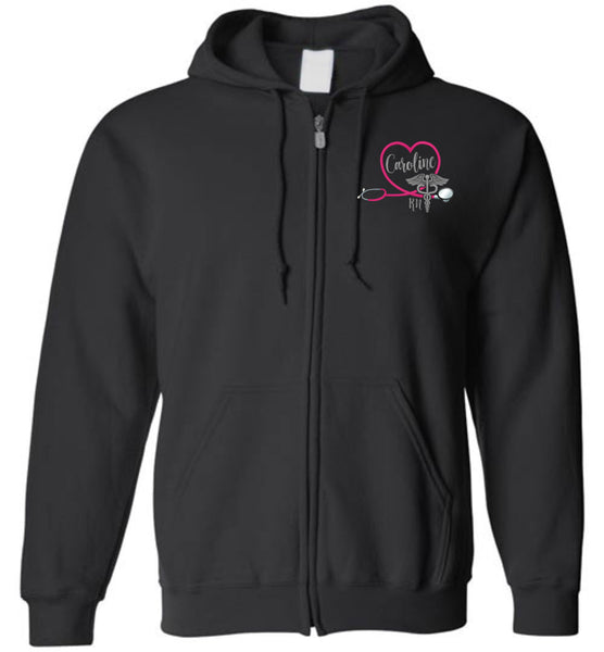 Caroline RN Labor and Delivery Zipper Hoodie