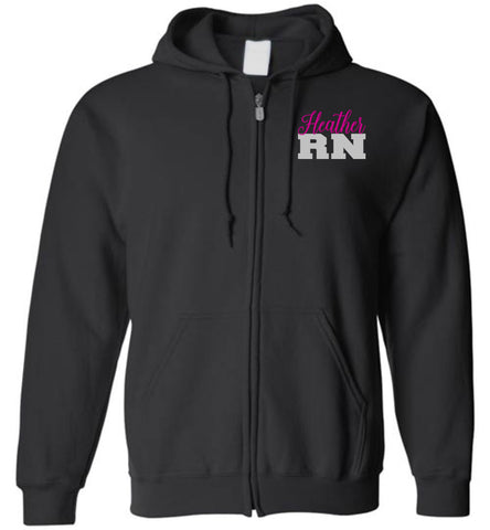 Heather RN Nurse Flag Zipper Hoodie