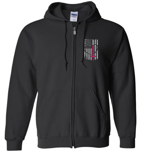 Pink Nurse Flag Zipper Hoodie Flag Only (CK1251)