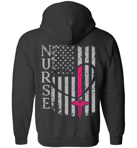 Pink Nurse Flag Zipper Hoodie - For Nurses