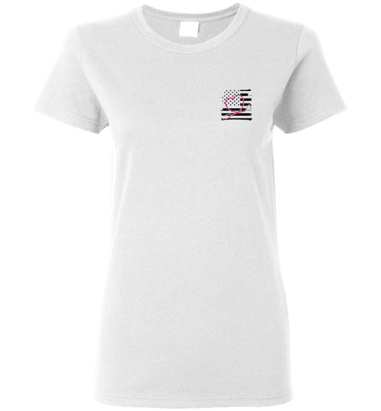 Nurse Flag with Heart Stethoscope Ladies Tee