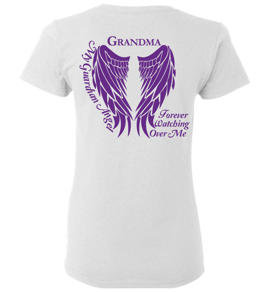 Grandma Guardian Angel Ladies T-Shirt Purple