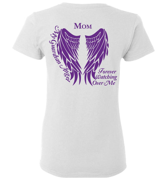 Mom Guardian Angel Ladies T-Shirt Purple