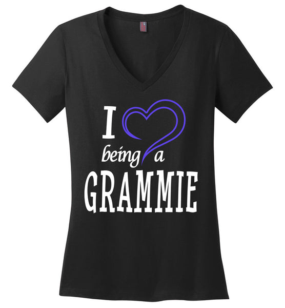 I Love Being a Grammie Ladies V-Neck T-Shirt