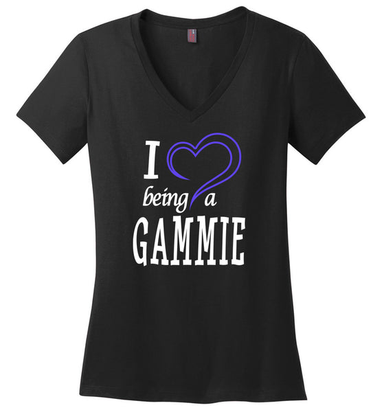 I Love Being a Gammie V-Neck Ladies T-Shirt
