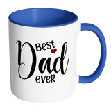 Best Dad Ever 11 oz White Coffee Mug with color handles and inside. Gift for Fathers Day