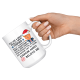 FUNNY TRUMP MUG FOR STEPDAD 15 OZ WHITE COFFEE MUG - SANTA HAT