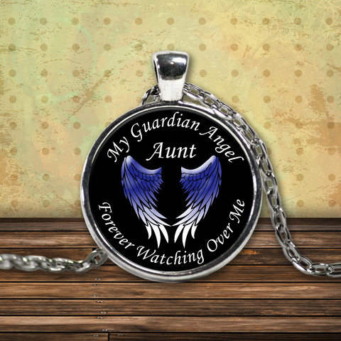 Aunt Guardian Angel Round Pendant Blue