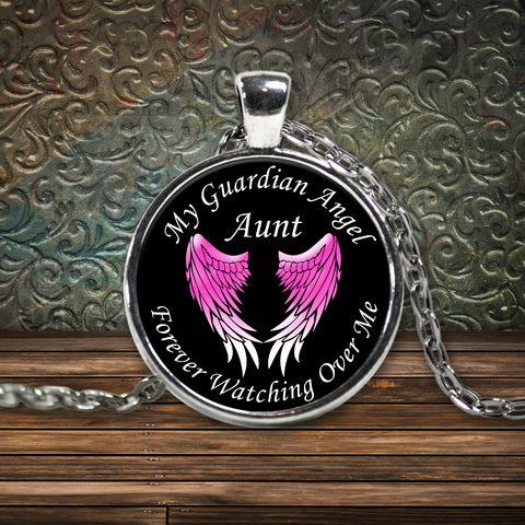 Aunt Guardian Angel Round Pendant Pink