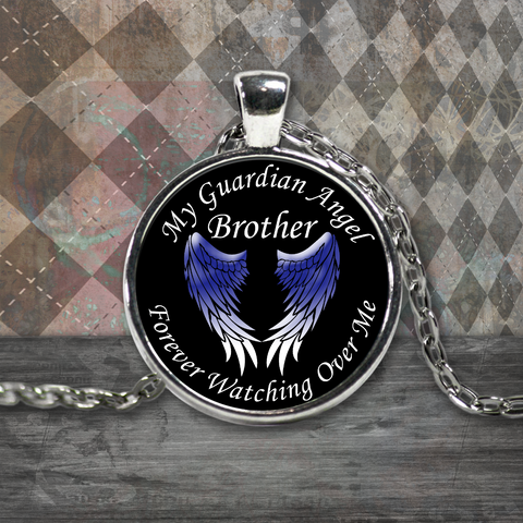 Brother Guardian Angel Round Pendant Blue