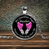 Brother Guardian Angel Round Pendant Pink