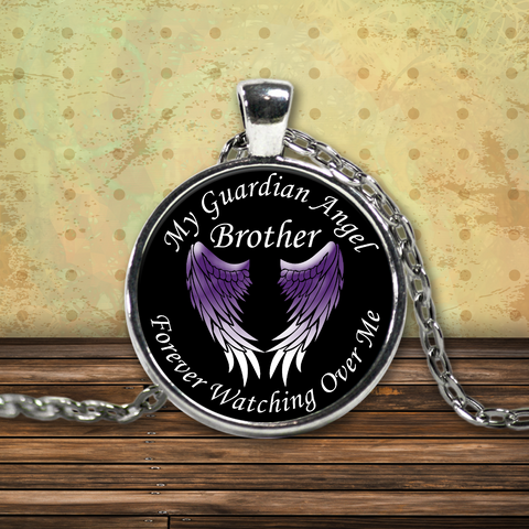 Brother Guardian Angel Necklace Purple