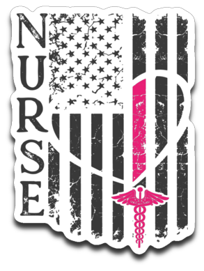 Nurse Flag Decal 4X3