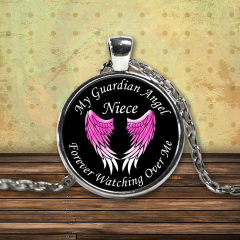 Niece Guardian Angel Round Pendant Pink